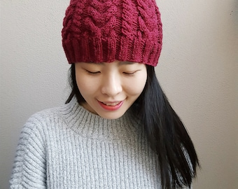 MADE TO ORDER - Merino Wool Cable knit Beanie with Fur Pom Pom - Superwash merino - Knit beanie - Pom Pom beanie - 100% merino wool beanie