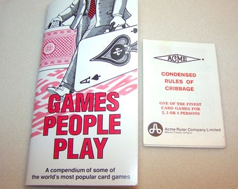 Vintage Card Game Book Games People Play Readers Digest Card Game Rules 1992 Printing Learn to Play Card Game Instruction Booklet