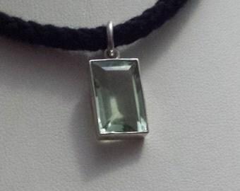 Ladies Handmade Sterling Silver and Baguette Cut Green Amethyst Pendant (31sil)