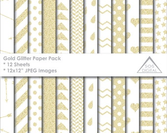 Gold Glitter Papers, Digital Glitter Paper, Glittery Patterns Papers, polkadot, stripes, chevron, small commercial use, jpeg, digital paper
