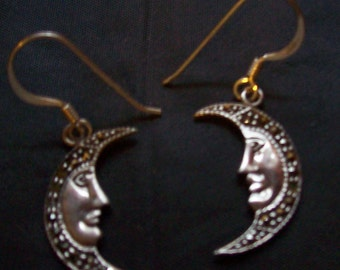 Vintage sterling silver moon dangles