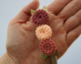 Felt Flower Crown- Baby/Toddler Headband, Soft Nylon Headband, Pink, Blush, Grapefruit