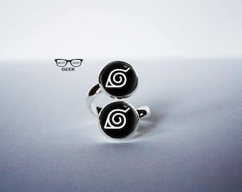 Naruto Konoha leaf village symbol  Ring, Naruto logo double ring, Naruto adjustable ring, fan gift