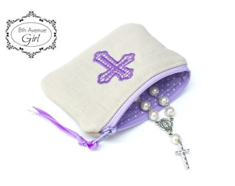 Personalized rosary pouch, Monogrammed rosary pouch, Rosary case, Baptism gift, First Communion gift, Confirmation Gift, Wedding gift
