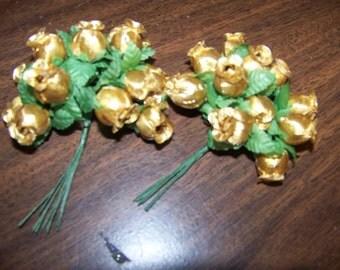 Metallic Gold Craft Rosebuds