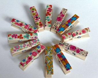 12 Wooden Flower Pegs #EO6