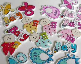 8 baby wooden buttons #EB64