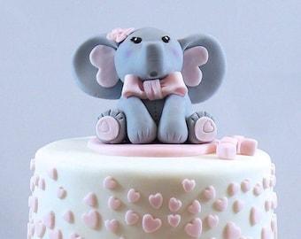 Baby Elephant Fondant Cake Topper