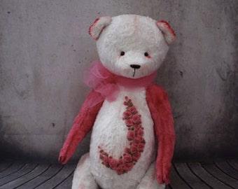 Artist Teddy Bear Rosa-Handmade Teddy Bear -Vintage Teddy Bear-Textile -Dollhouses-Interior Toy-Dolls&Miniatures-Art Collectibles