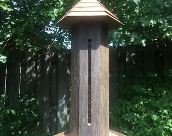 Rustic Bird Feeder, Hanging Wild Bird Feeders, Handmade Wood Birdfeeder