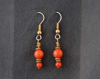 Carnelian and brass drop earrings