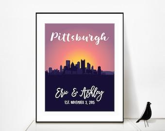 Pittsburgh Skyline Art, Skyline of Pittsburgh Skyline Print Pittsburgh Skyline Wall Art Pittsburgh Wedding Gift for Her Pittsburgh Cityscape