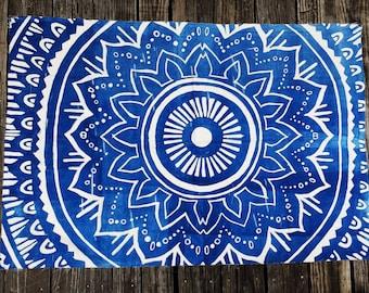 Large Mandala Tapestry Woodblock Print