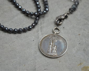 Watch and Be Sober - sterling silver medal necklace