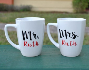 Personalized Mr. and Mrs. Coffee Mug Pair - Wedding Gift - Bridal Shower Gift - Engagement Gift - His and Hers - Last Name