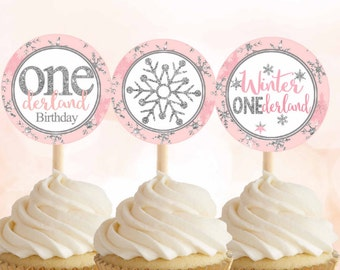 Winter ONEderland Cupcake Toppers, Pink and Silver cupcake toppers, 1st Birthday cupcake toppers Winter onederland decorations Digital File.