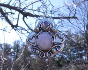 Pink Opal Sterling Pendant