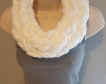 White Chunky Arm Knit Infinity Scarf