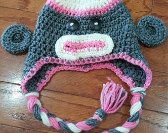 Sock Monkey with ear flaps and braids