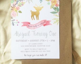 Garden Party Flower Deer Little Girl Birthday Invite, Printable