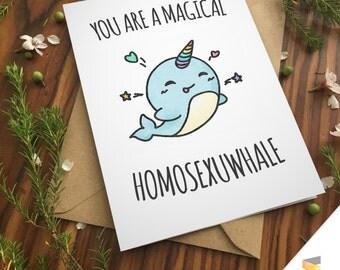 LGBT LOVE PUN greeting card gay lesbian couple love anniversary funny pride girlfriends unicorn whale boyfriends rainbow birthday lesbians