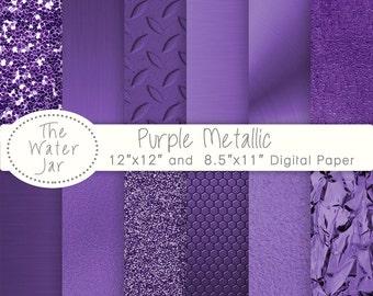 Purple Metallic Texture digital papers and Deep Purple Metallic Glitter, Purple Metal Textures, Brushed metal, Purple foil