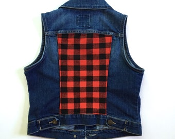 Women's Plaid Denim Vest (small) | custom denim | red buffalo plaid | women's denim | jean vest