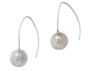 Disc Earrings with Freshwater Seed Pearls
