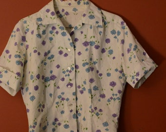 1950s Sailmates Rose Print Button down Blouse -Med/Large