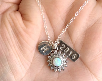 Graduation Personalized Necklace. Silver Necklace. Opal Necklace.