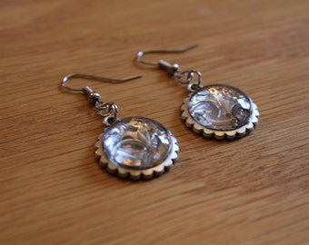 Hand made, Unique, Wrist Watch Parts Glass 16mm Cabachon Earrings