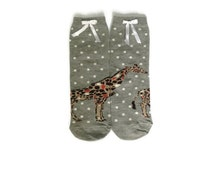 Giraffe Socks, Fun Funny Socks, Cute Socks, Animal Socks, Women Socks, Polka Dot Grey Casual Ladies Socks, Cool Boot Socks, Gift Best Friend