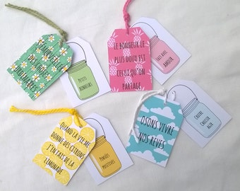 4 X 2 labels positive words and words in mason jar