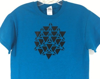 Sapphire Blue Sacred Geometry 64 Tetrahedron Merkaba T shirt