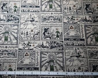 Zelda Hieroglyphics Fabric, Yardage or Fat Quarter, FQ, The Legend of Zelda, Petroglyphs, Link from Zelda, Nintendo Fabric, Triforce Fabric