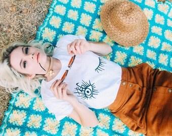 Hey Girl, Nice Eyes wink tshirt- womens t-shirt- thin t-shirt- soft t-shirt- wink t-shirt- blink t-shirt