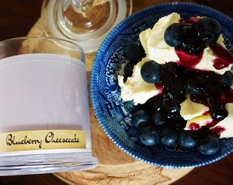 Blueberry Cheesecake Scented Premium Natural Soy Wax Container Candle In Large Apothecary Glass Jar With Lid