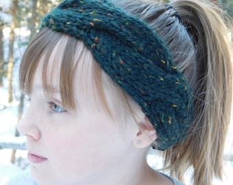 Green Cableknit Headband