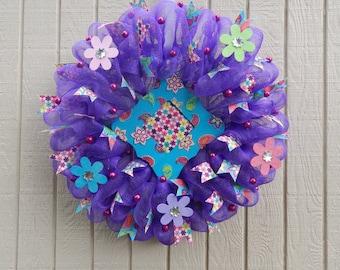 Summer Mesh Wreath, Summer Wreath, Mesh Wreath, Purple wreath