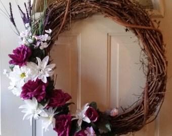 Magenta Rose Grapevine Wreath