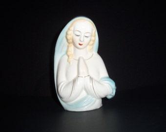 Vintage Madonna - Virgin Mary Porcelain Vase - Planter