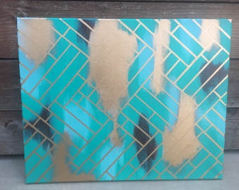 Abstract Art - Turquoise and Gold