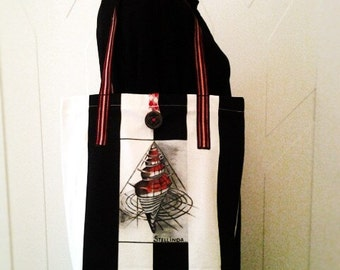 "Black white striped bag with painted handmade ""sea shell"""
