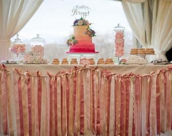 Blush pink Wedding/Cake Table/gender reveal/Party ribbon garland