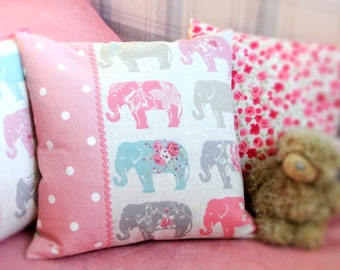 Personalised Elephant Pillow, Pink Throw Pillow, Pink & Grey Nursery Decor, Personalised Elephant Cushion, Pink Cushion, Elephant Lover Gift