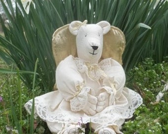 Bear guardian angel etsy guardian angel bear easter gift baby nursery item sister gift mothers gift negle Gallery