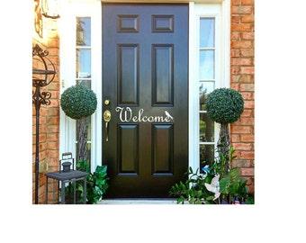 Front Door Decal Welcome Decal Home Door Decal Vinyl for Door Greeting Sticker Welcome Door Decal Welcome Vinyl Decal