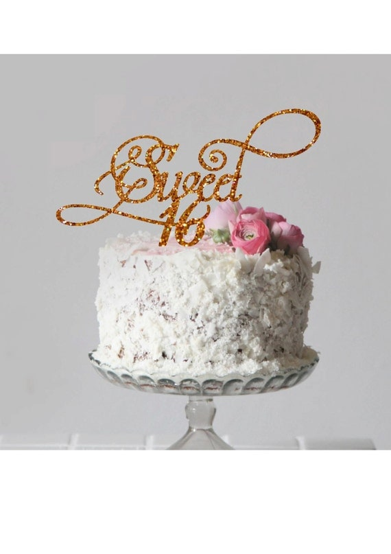 Sweet 16 Cake Topper Happy Birthday Cake Topper Sweet Sixteen