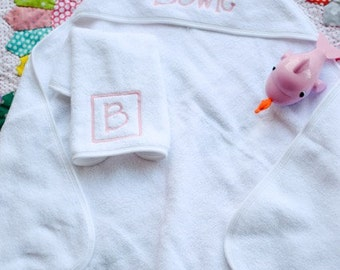 Personalized hooded bath towel and washcloth set for kids/babies