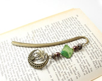 Metal book mark Tropical decor, Green shell bead, Palm tree and the moon, Gifts for book lover, reader, Teacher, Bookish present, Holidays